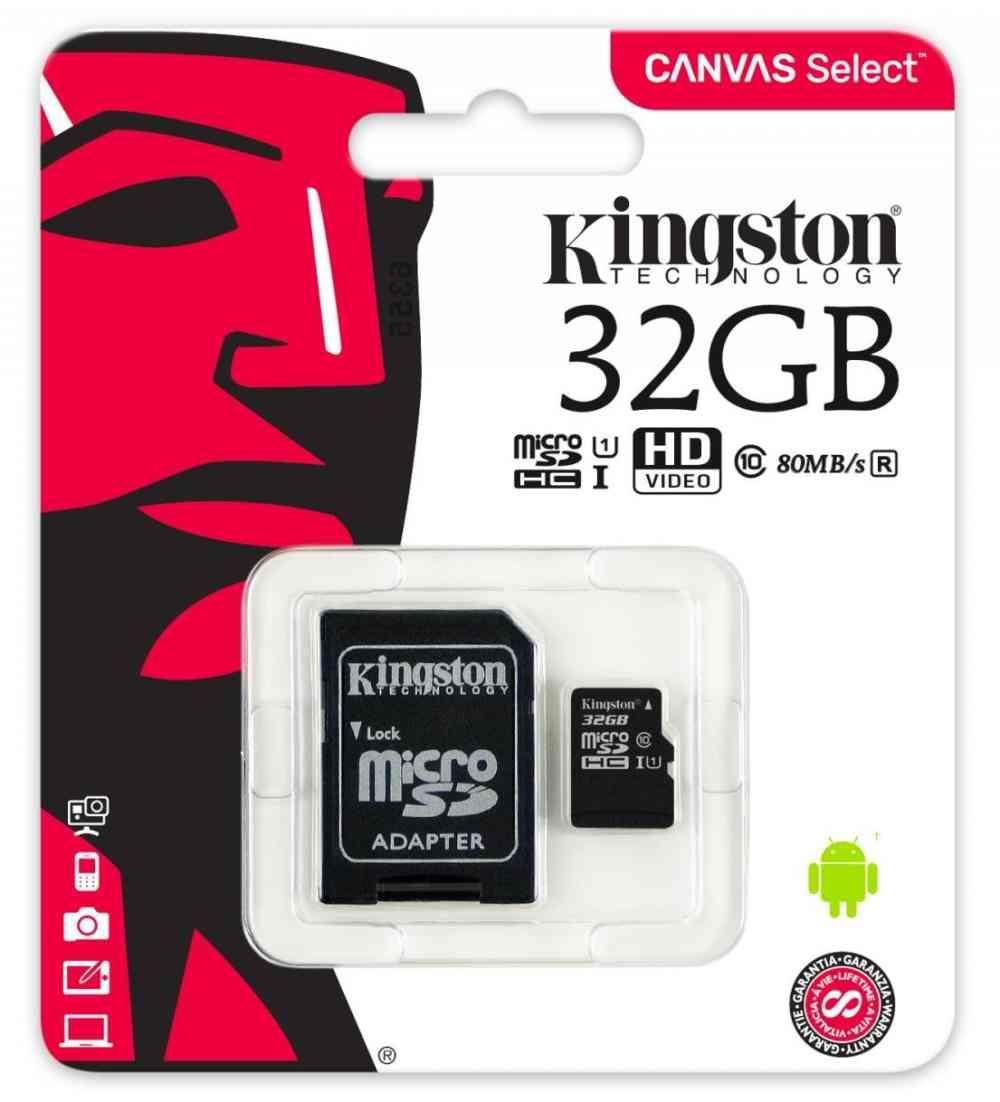Paměťová karta Kingston micro SDHC 32GB + adaptér